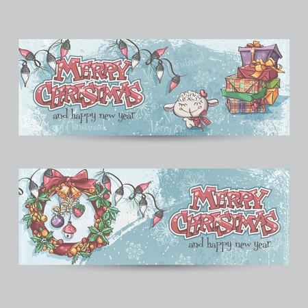 coronas de navidad: Conjunto de banners horizontales de Navidad con la imagen de un cordero, regalos y guirnaldas de Navidad Vectores