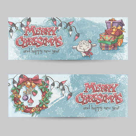 christmas wreaths: Set of horizontal Christmas banners with the image of a lamb, gifts and Christmas wreaths Illustration
