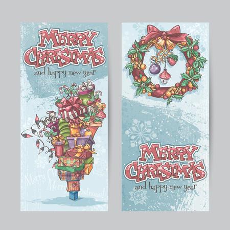 coronas de navidad: Conjunto de banners verticales con la imagen de los regalos de Navidad, guirnaldas de luces y guirnaldas de Navidad con juguetes.
