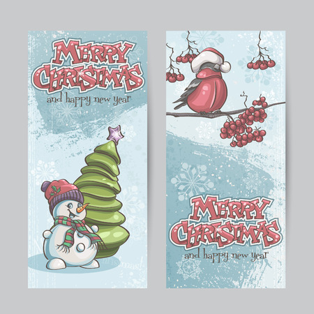 bullfinch: Set of vertical banners for Christmas and the new year with a picture of a snowman and bullfinch on the branch
