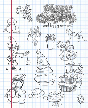 songbird: Set of Christmas and New Year festive items and characters. black contour Illustration