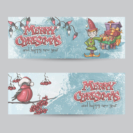 Set of horizontal banners for Christmas and the new year with a picture of an elf and Bullfinch on a branch Vector