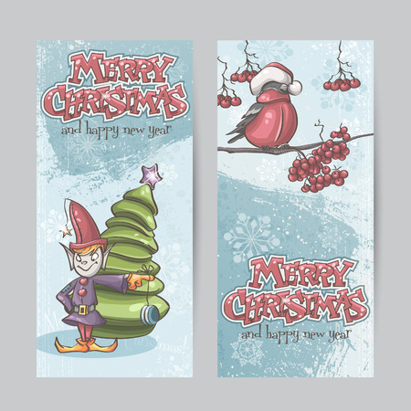 Set of vertical banners for Christmas and the new year with a picture of an elf and Bullfinch on a branch Vector