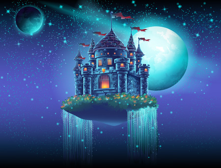 Illustration of a flying castle space with waterfalls on the background of stars and planets Ilustração