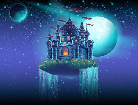 Ilustracja latającego przestrzeni zamku z wodospadami na tle gwiazd i planet
