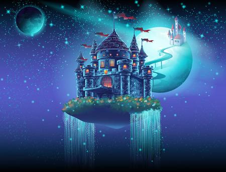 castillo medieval: Ilustraci�n del espacio a�reo del castillo con un puente en el fondo de los planetas