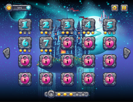 money cosmos: Illustration fabulous space with cheerful planets with the example screen levels, the game interface with a progress bar, panel objects, buttons for gaming or web design Illustration