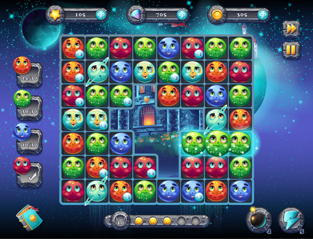 fun game: Illustration fabulous space with the image of the game screen with the interface of the game playing field with fun planets as well as the progress bar, bars objects, coins, crystals and various buttons