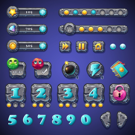 money cosmos: Set stone buttons, progress bars, bars objects, coins, crystals, icons, boosters and other ellementov for web design and user interface of computer games Illustration