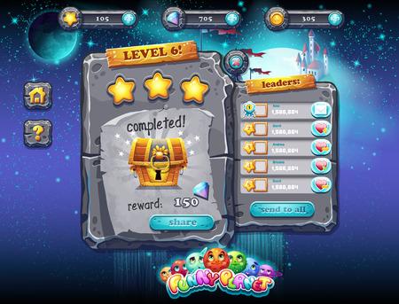 Ilustracja wspaniałe miejsca z planety i zabawnych przykładów dekoracji okna interfejsu użytkownika dla gier komputerowych i projektowania stron internetowych z przyciskami, nagród, poziomów i innych elementów. Zestaw 2.