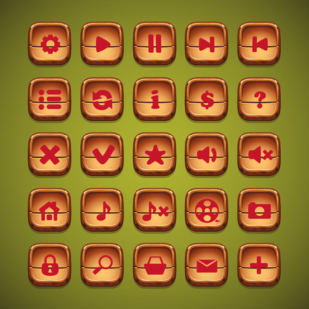mute: A set of wooden cartoon buttons for the user interface of computer games and web design Illustration