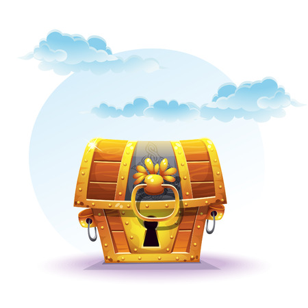 Illustration of treasure chest on a background of clouds