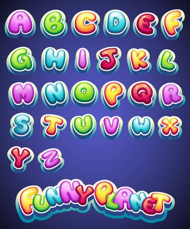 Set van cartoon gekleurde letters voor de decoratie van verschillende namen voor games. boeken en web design Stock Illustratie