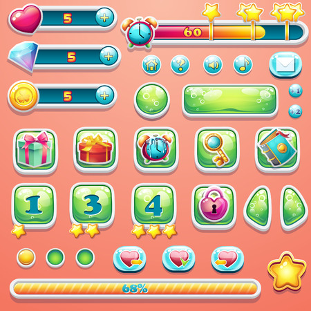 A large set of progress bars, buttons, boosters, icons for user interface design of computer games. Illustration