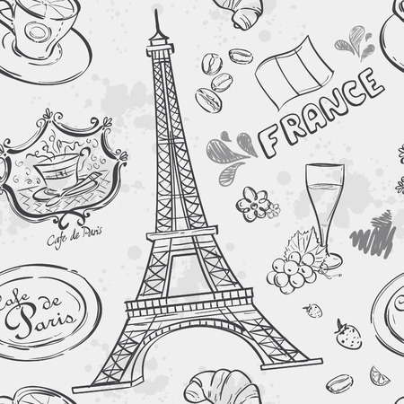 rouge: Seamless texture with the image of the Eiffel Tower and other items depicting France Illustration