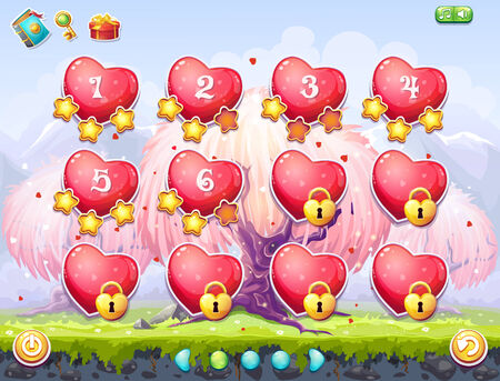 for example: Example of selection of levels for computer games on the topic Valentine Illustration