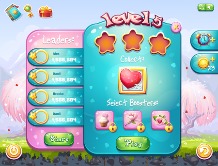 for example: Example of the game window to the task for a computer game on the theme of Valentine