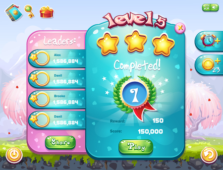 for example: Example of the game window with the completion level for computer games on the theme of Valentine Illustration