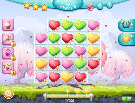 jeu de carte: Exemple du terrain de jeu et de recueillir trois dans une rang�e et l'interface pour un jeu informatique sur le th�me de la Saint-Valentin Illustration