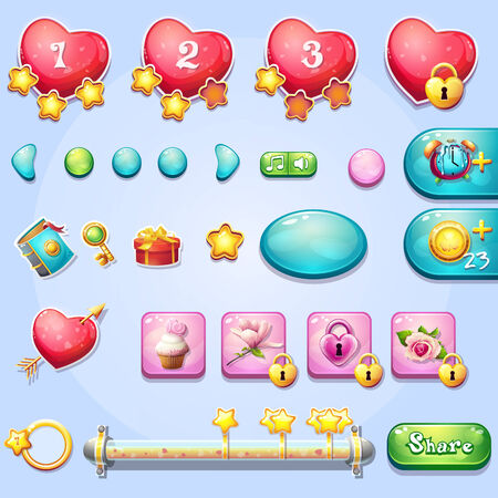 computer part: Set of different elements, progress bars, boosters, buttons for computer games and web design on the theme of Valentine