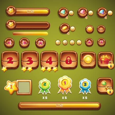 ブースター、進行状況バー、フレーム、コンピューター ゲームの魔法の森の木のボタンの大規模なセット
