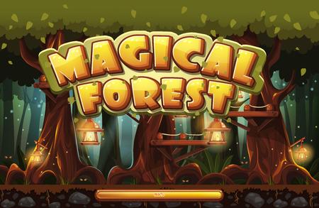 m�gica: Pantalla de arranque para el bosque m�gico juego de ordenador Vectores
