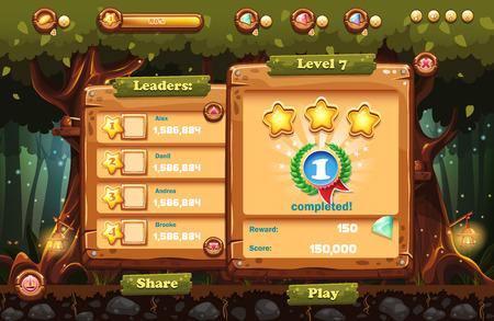 computer game: Making the game screen to the computer game magic forest with views of the leader and the completion