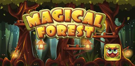 Ustaw baner i ikona gier komputerowych magicznego lasu