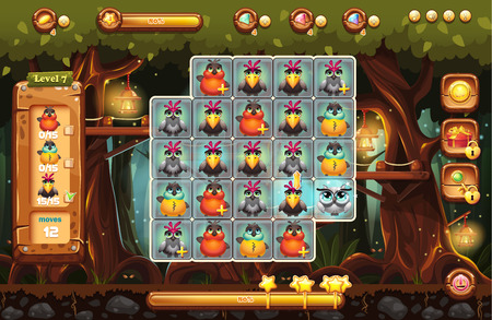 The screen is the playing field for the game with a magical forest with boosters, progress bar, frames and characters Illustration
