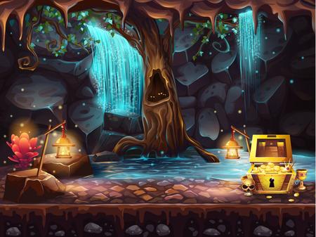 Illustratie fantasie grot met een waterval, een boom en een schatkist