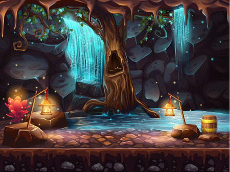 mining: Cave with a waterfall and a magic tree and barrel of gold