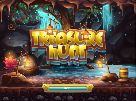 treasure hunt: Example of the boot screen to play treasure hunt Illustration