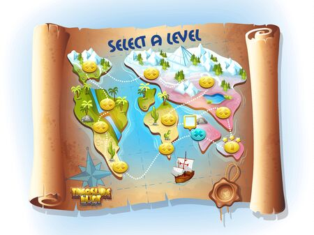 geography background: Map of treasure hunting