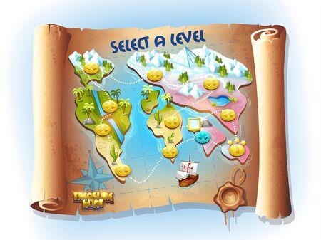 mapa del tesoro: Mapa de la caza del tesoro Vectores