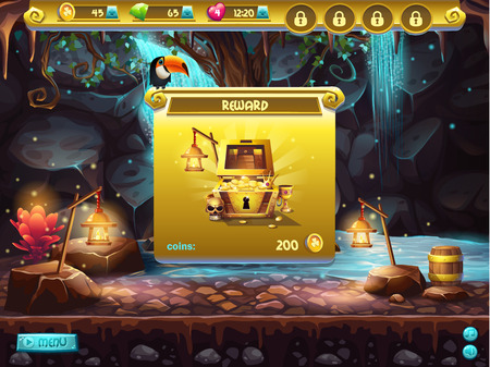 Example of a user interface for a computer game treasure hunt. Window receiving the award.