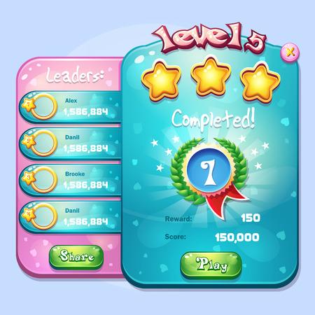 booster: Exemple de l'ach�vement du niveau de la fen�tre pour un jeu d'ordinateur dans un style de bande dessin�e