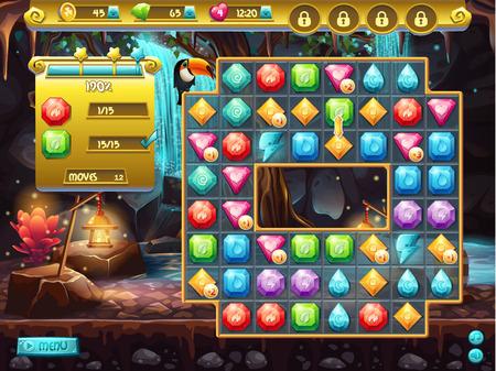 Voorbeeld van de gebruikersinterface en het speelveld voor een computerspel drie op een rij. schattenjacht Stockfoto - 37226458
