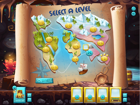 treasure hunt: Example of the user interface to select the level to play treasure hunt Illustration