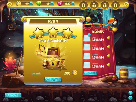 コンピュータ ゲームは、ウィンドウ レベルの完了のユーザー インターフェイスの例