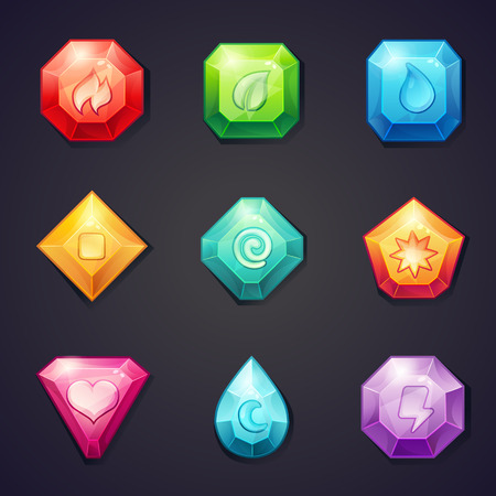 Set of cartoon colored stones with different signs element for use in the game, three in a row Vectores