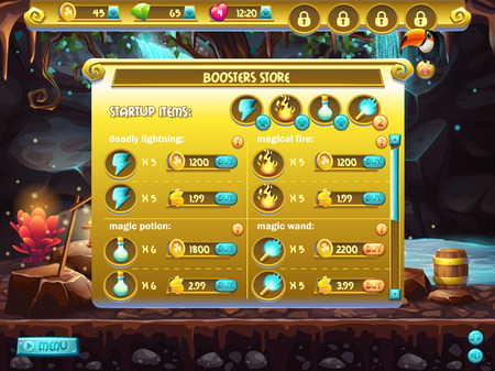 for example: Example of store sales boosters for computer games Illustration