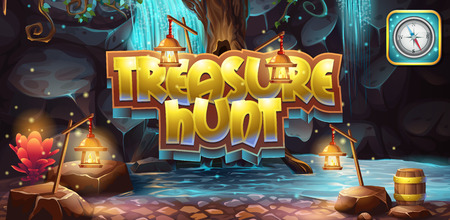 Horizontal banner, icon to the computer game treasure hunt Stock Illustratie