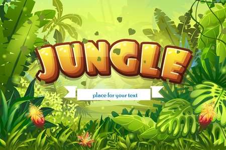 Illustration cartoon jungle with inscription and ribbon Stock Illustratie