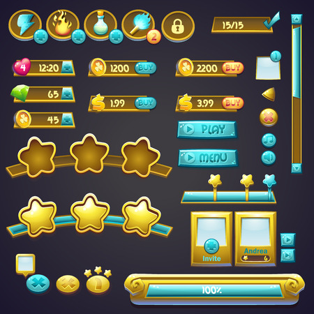 interface elements: Set of different elements in a cartoon style, progress bars, boosters buttons and other elements