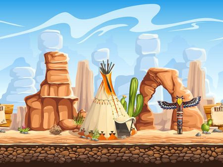 western: Tileable horizontal background wild west. Set3