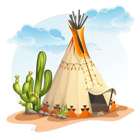 Illustratie van de Noord-Amerikaanse Indianen tipi huis met cactus en stenen Stockfoto - 38706032