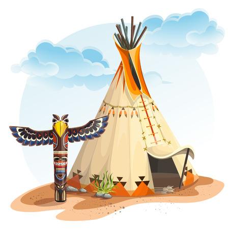 oeste: Ilustración de la casa tipi indio norteamericano con totem Vectores