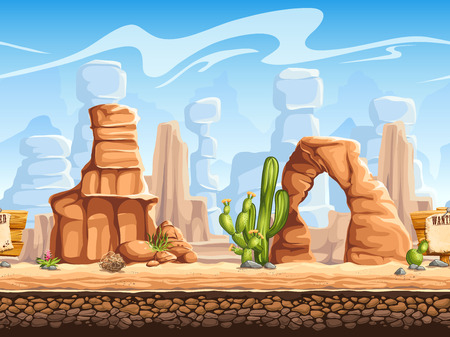 rolling landscape: Tileable horizontal background wild west. Set1