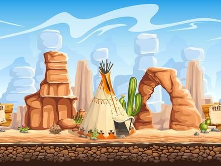 monument valley: Tileable horizontal background wild west. Set2