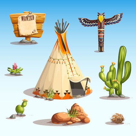 west: Wild west set Illustration